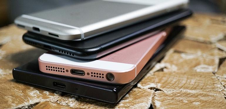 Stack of phones - smartphones