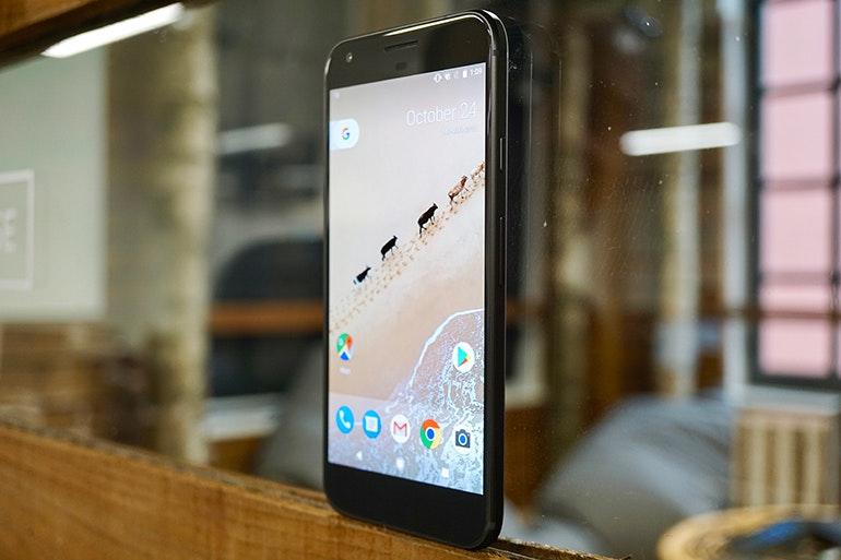 Google pixel resting on window