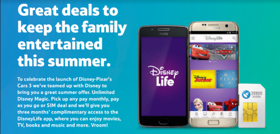 Get three months' free subscription to DisneyLife with Tesco Mobile