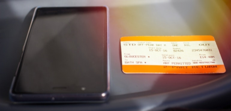 Smartphone and train ticket