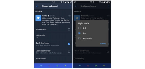 Twitter for Android gets automatic night mode