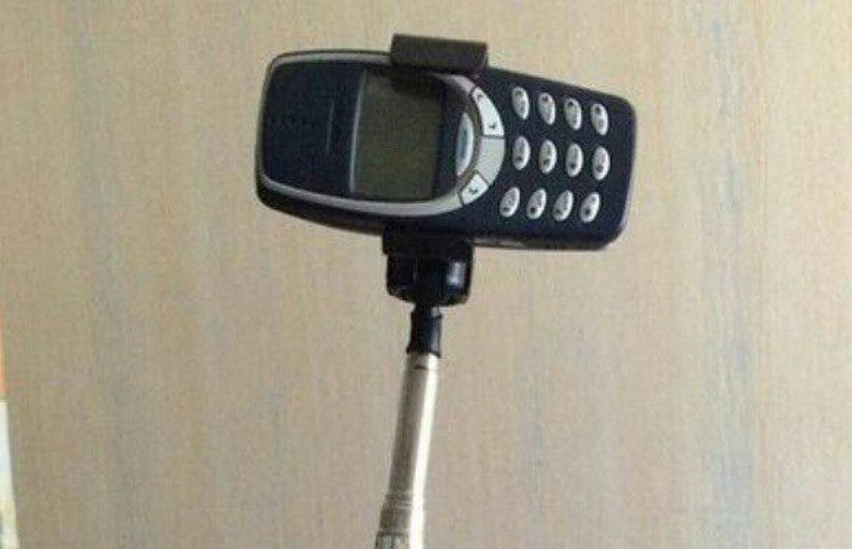 Nokia 3310 on a selfie stick