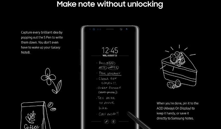 Samsung Galaxy Note 8 S Pen offscreen