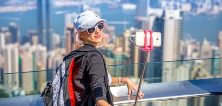 Roaming outside the EU Hong Kong selfie stick sightseeing hero size
