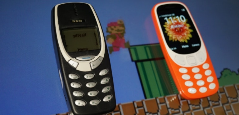 Nokia 3310 old and new Super Mario hero size
