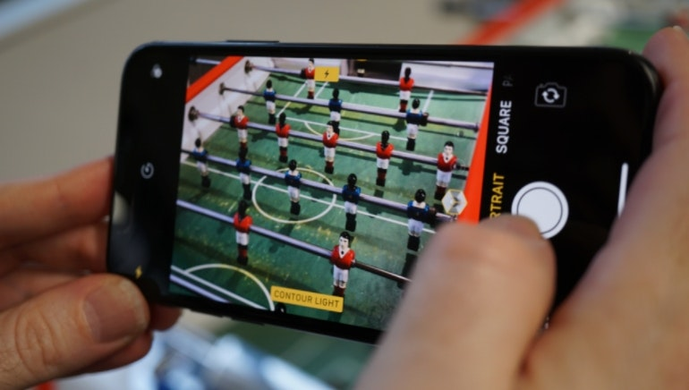 iPhone X camera table football